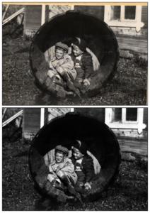 Foto före och efter med badtunna